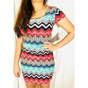 Hot Kiss Colorful Tribal Dress Zigzag Stretch Boho